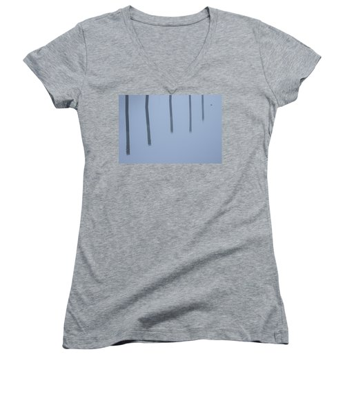 Women's V-Neck T-Shirt (Junior Cut) featuring the photograph Five Poles And A Duck by Karol Livote