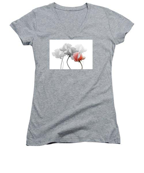 Five Roses Women's V-Neck T-Shirt (Junior Cut) by Rosalie Scanlon