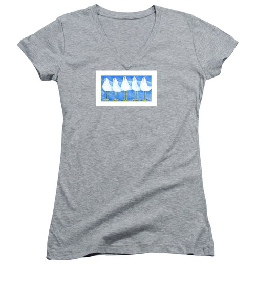 Five Seagulls Women's V-Neck T-Shirt (Junior Cut) by Pat Olson