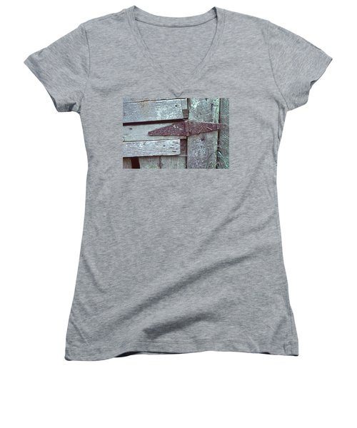 Women's V-Neck T-Shirt (Junior Cut) featuring the photograph Fixed by Laurie Stewart