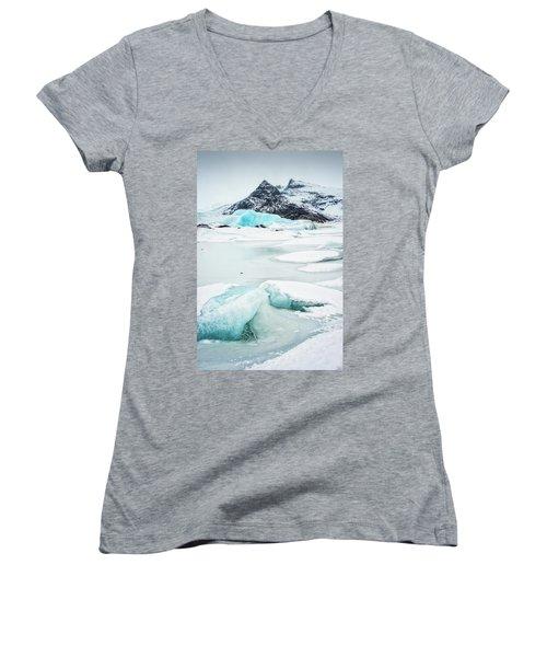Fjallsarlon Glacier Lagoon Iceland In Winter Women's V-Neck T-Shirt (Junior Cut) by Matthias Hauser