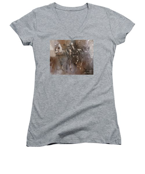 Fjords On The Run Women's V-Neck T-Shirt (Junior Cut) by Kathy Russell