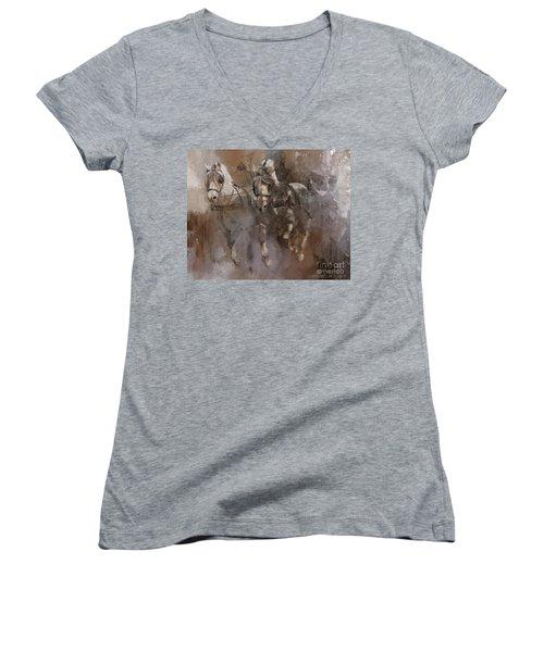 Fjords On The Run Women's V-Neck T-Shirt