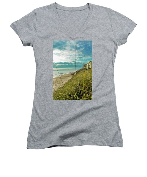 St Aug Beach Women's V-Neck T-Shirt (Junior Cut) by Josy Cue
