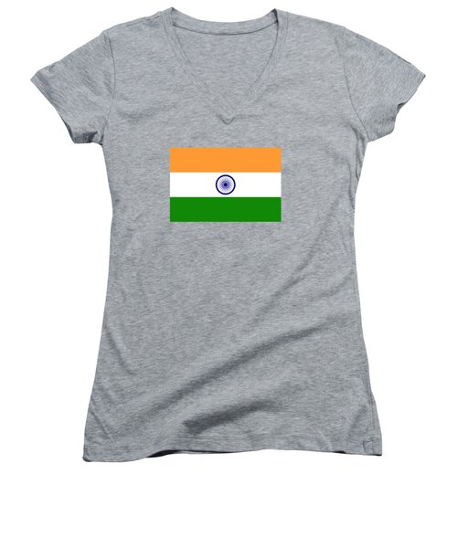 Flag Of India Authentic Version Women's V-Neck T-Shirt (Junior Cut) by Bruce Stanfield