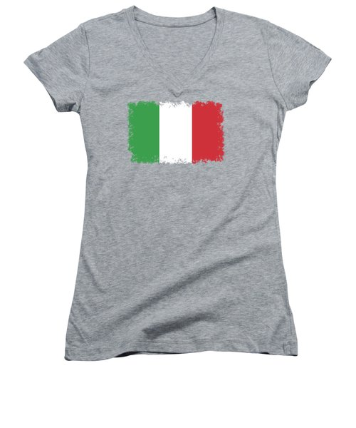 Women's V-Neck T-Shirt (Junior Cut) featuring the digital art Flag Of Italy by Bruce Stanfield