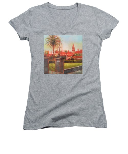 Flagler College Women's V-Neck T-Shirt (Junior Cut) by Mary Hubley