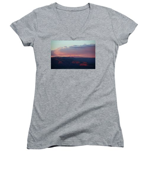 Women's V-Neck T-Shirt (Junior Cut) featuring the photograph Flagstaff's San Francisco Peaks Snowy Sunset by Ron Chilston