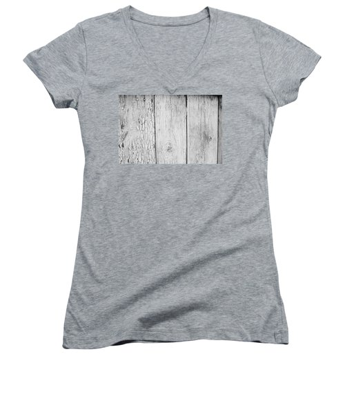 Women's V-Neck T-Shirt (Junior Cut) featuring the photograph Flaking Grey Wood Paint by John Williams