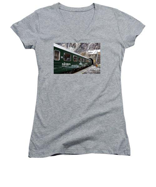 Flam Railway Women's V-Neck T-Shirt (Junior Cut)