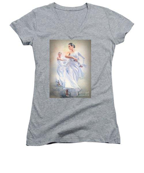 Flamenco In White Women's V-Neck
