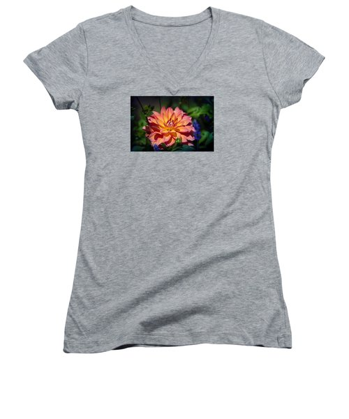 Flames Women's V-Neck T-Shirt (Junior Cut) by Milena Ilieva