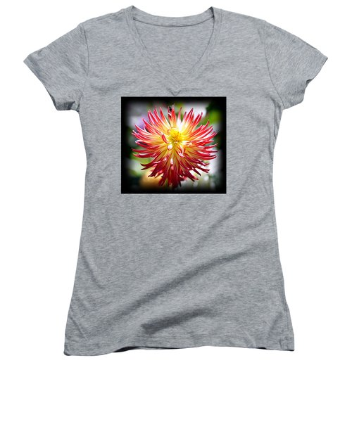 Women's V-Neck T-Shirt featuring the photograph Flaming Beauty by AJ Schibig