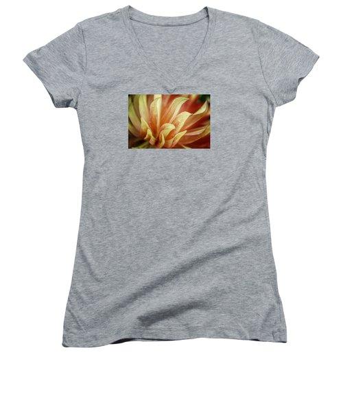 Flaming Dahlia Women's V-Neck T-Shirt (Junior Cut) by Mary Angelini