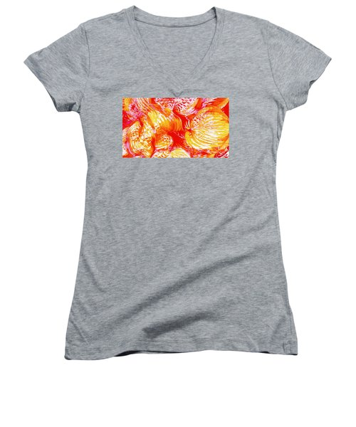 Flaming Hosta Women's V-Neck T-Shirt