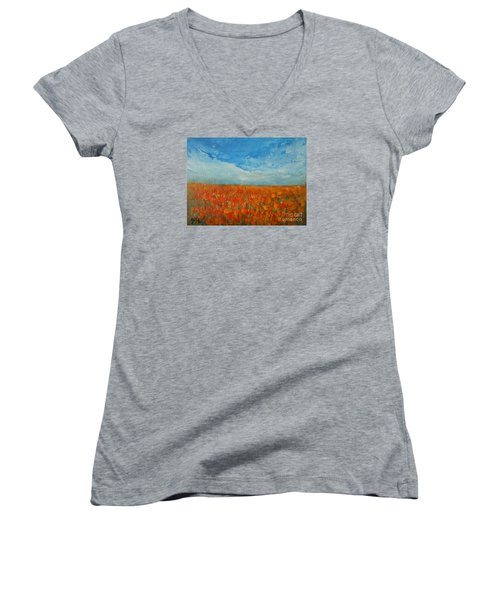 Women's V-Neck T-Shirt (Junior Cut) featuring the painting Flaming Orange by Jane See