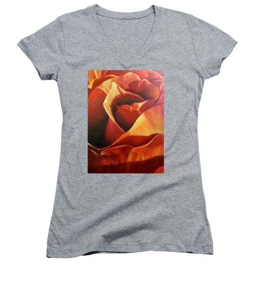 Flaming Rose Women's V-Neck T-Shirt