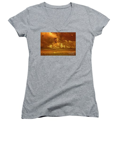 Women's V-Neck T-Shirt (Junior Cut) featuring the photograph Flaming Sky by Charuhas Images
