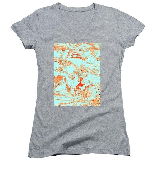 Flamingo And Sea Marble Women's V-Neck T-Shirt (Junior Cut) by Uma Gokhale