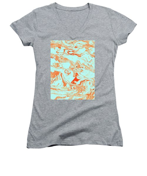 Flamingo And Sea Marble Women's V-Neck T-Shirt