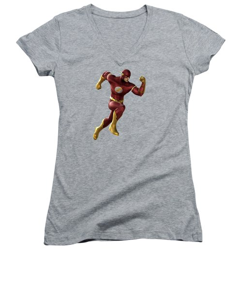 Women's V-Neck T-Shirt (Junior Cut) featuring the mixed media Flash Splash Super Hero Series by Movie Poster Prints