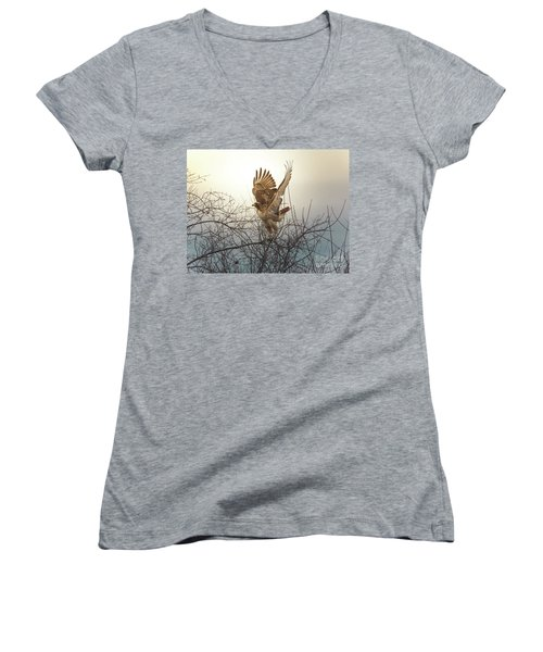 Flashing The Truckers Women's V-Neck T-Shirt (Junior Cut) by Robert Frederick