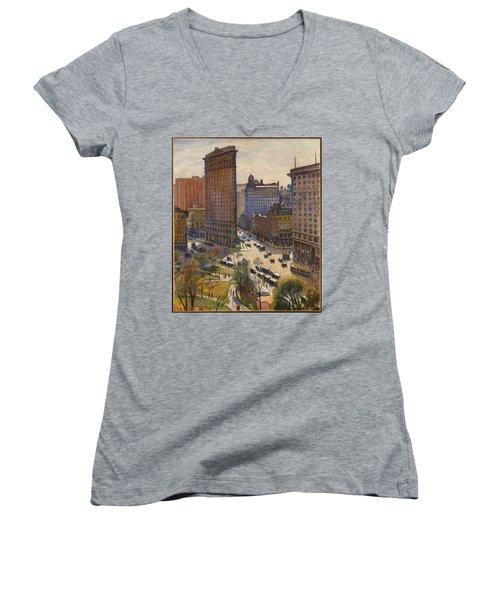 Women's V-Neck T-Shirt featuring the painting Flatiron Building New York By Samuel Halpert by Samuel Halpert