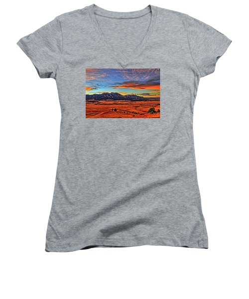 Women's V-Neck T-Shirt (Junior Cut) featuring the photograph Flatiron Sunset Fire Red by Scott Mahon