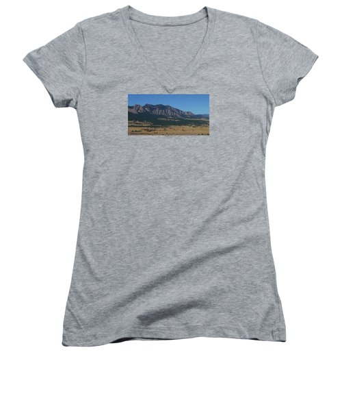 Women's V-Neck T-Shirt (Junior Cut) featuring the photograph Flatirons Of Boulder by Christopher Kirby
