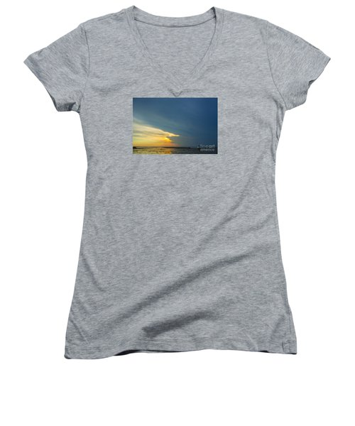 Flats Of Brewster, Cape Cod Women's V-Neck T-Shirt (Junior Cut) by Diane Diederich
