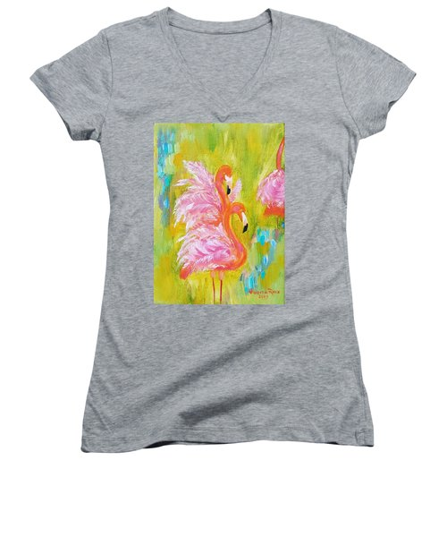 Women's V-Neck T-Shirt featuring the painting Flaunting Feathers by Judith Rhue
