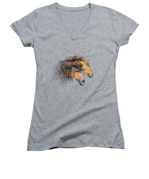 Flaxen Manes Women's V-Neck T-Shirt