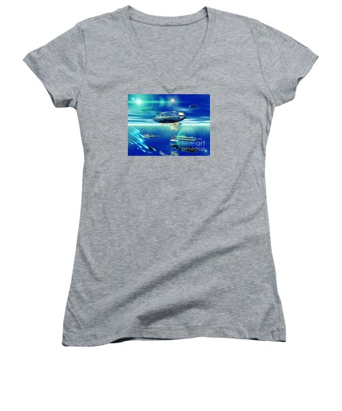 Women's V-Neck T-Shirt (Junior Cut) featuring the digital art Fleet Aqua by Jacqueline Lloyd