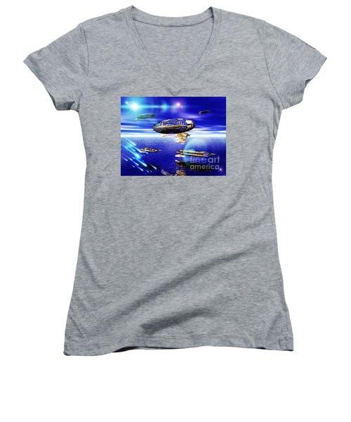 Women's V-Neck T-Shirt (Junior Cut) featuring the digital art Fleet Lomo by Jacqueline Lloyd