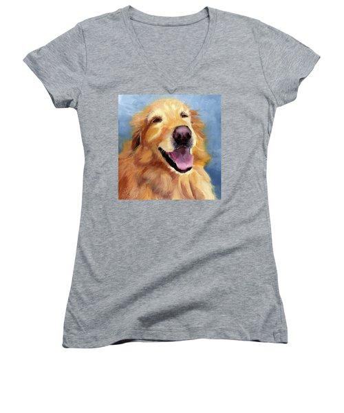 Fletcher Laughing Women's V-Neck T-Shirt (Junior Cut) by Alice Leggett