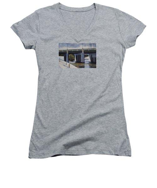 Fletcher Street Bridge Women's V-Neck T-Shirt (Junior Cut) by Richard Willson