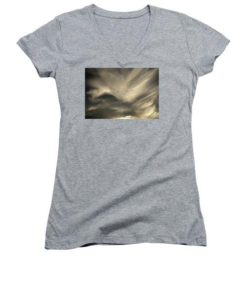 Women's V-Neck T-Shirt (Junior Cut) featuring the photograph Flight 016 Westbound by Robert Geary