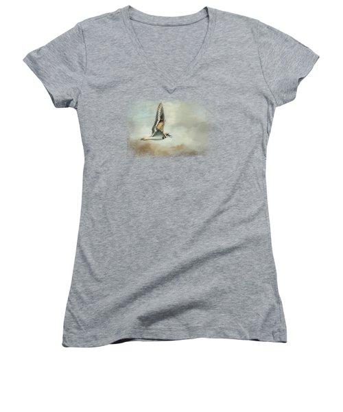 Flight Of The Killdeer Women's V-Neck T-Shirt (Junior Cut) by Jai Johnson