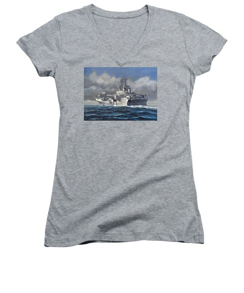 Women's V-Neck T-Shirt (Junior Cut) featuring the painting Flight Ops by Stephen Roberson