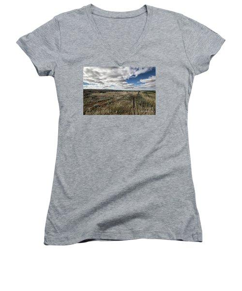 Flinders Ranges Fields V2 Women's V-Neck T-Shirt (Junior Cut) by Douglas Barnard