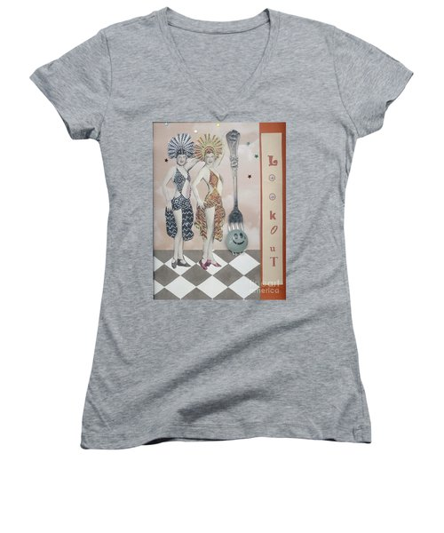 Women's V-Neck T-Shirt (Junior Cut) featuring the mixed media Fling by Desiree Paquette