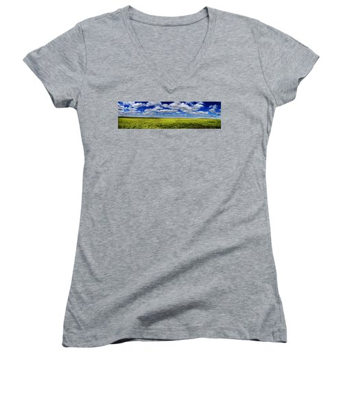 Flint Hills Panorama 1 Women's V-Neck T-Shirt