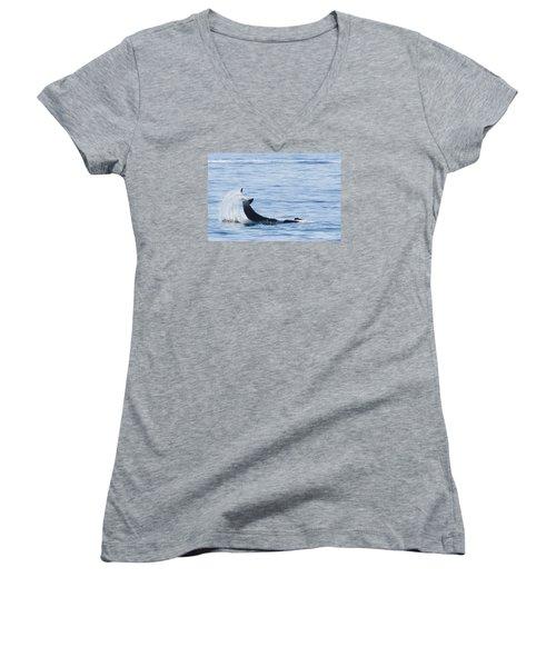 Flipping Off Women's V-Neck T-Shirt (Junior Cut) by Harold Piskiel