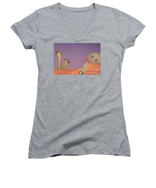 Flirt Women's V-Neck T-Shirt (Junior Cut) by Lyric Lucas