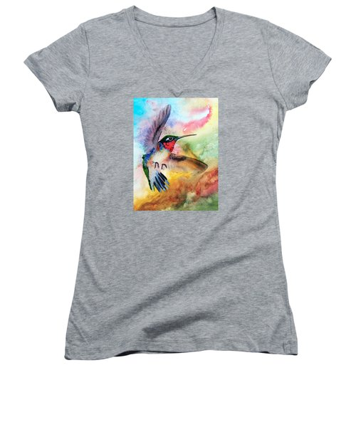 Da198 Flit The Hummingbird By Daniel Adams Women's V-Neck (Athletic Fit)