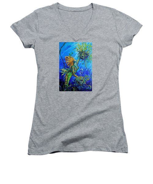 Floating Blond Mermaid Women's V-Neck (Athletic Fit)