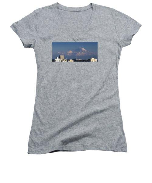 Floating Mountain Women's V-Neck T-Shirt (Junior Cut) by Ed Clark