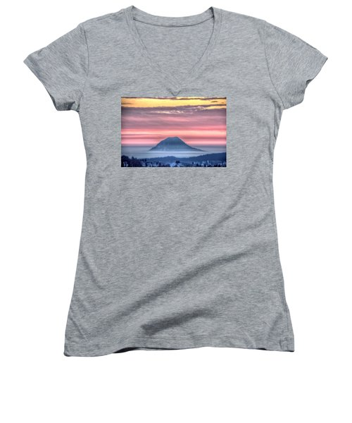 Women's V-Neck featuring the photograph Floating Mountain by Fiskr Larsen
