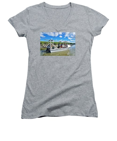 Floating On Shallow Water Women's V-Neck (Athletic Fit)