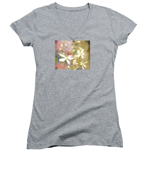 Floating Petals Women's V-Neck T-Shirt (Junior Cut) by Colleen Taylor